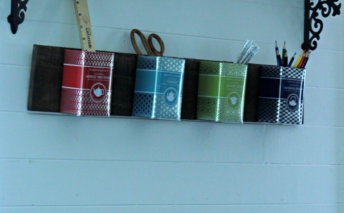Make a Farmhouse Style Repurposed Tea Tins School Supplies Office Organizer! by Knick of Time | knickoftime.net