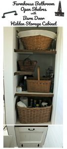White Farmhouse Bathroom Open Shelves Barn Door Hidden Storage Cabinet | knickoftime.net