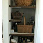 Bathroom Open Shelves Cabinet with Barn Door Hidden Storage