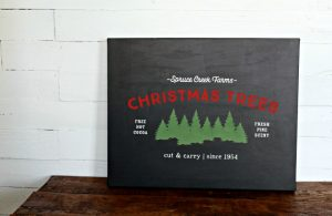 Chalk Couture Christmas Tree Farm Transfer Canvas Christmas Sign by Knick of Time | knickoftime.net