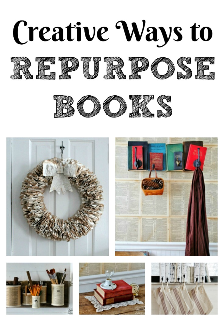 Make some of these  Book Page and Repurposed Book Projects to give new life to old and unwanted books!  There are projects for all skill levels. #knickoftime #repurposed #books #DIY #homedecor #upcycled