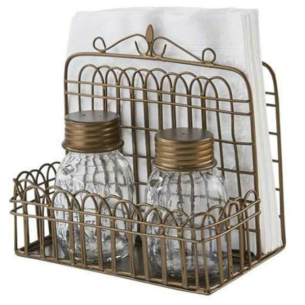 Garden Gate Napkin Holder with Glass Jar Salt & Pepper Shakers