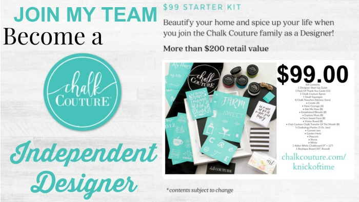 Join my Chalk Couture Team and receive this Starter for only $99! | https://www.chalkcouture.com/knickoftime/enrollment/packs