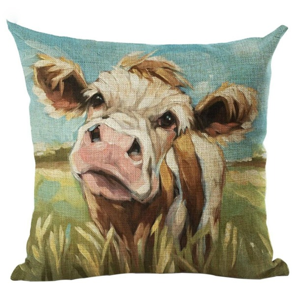 Oil Painting Style Cow Pillow Cover