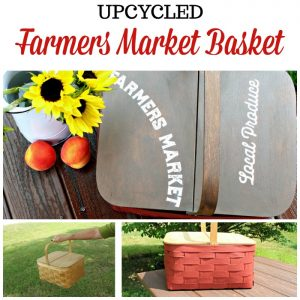 Upcycled Thrift Store Farmers Market Wooden Basket with Dixie Belle Chalk Paint & Chalk Couture Fall transfer by Knick of Time | knickoftime.net