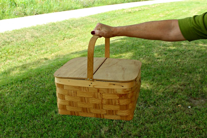 Upcycling Thrift Store Finds Unfinished Wooden Picnic Basket