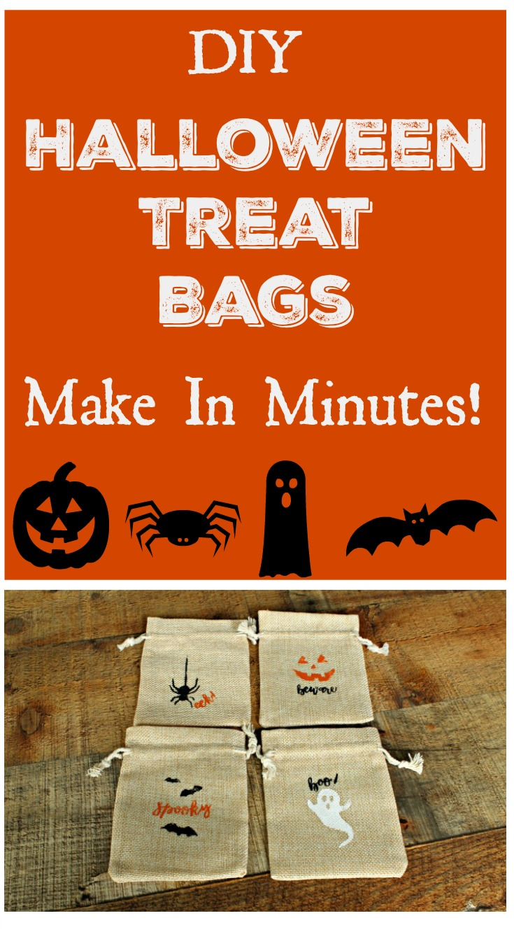 Make some adorable Halloween treat bags in minutes with the Chalk Couture Halloween Fun Transfer set. Kids will love getting one with goodies tucked inside! #Halloween #DIY #craft #kids #trickortreat #Halloweendecor #burlap #KnickofTimeChalkDesigns