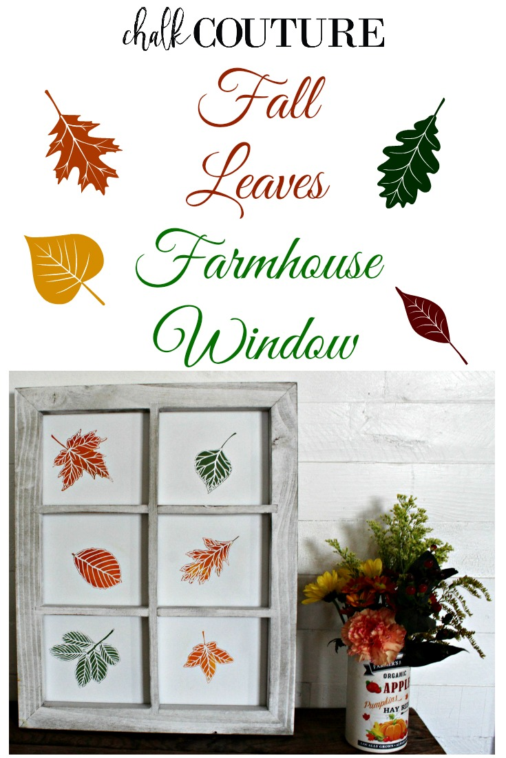 Create DIY decor for Autumn with fall leaves in a farmhouse style window frame using a fun and easy technique.  If you can finger paint, you can make this! #knickoftimechalkdesigns #ChalkCouture #farmhouse #farmhousestyle #diyproject #diydecor #fall #Autumn #homedecor #crafty #easy #craft #leaves #chalk #sharemychalkcouture