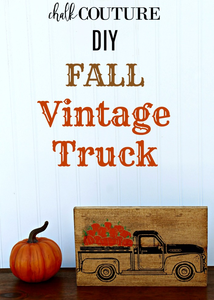 How to Chalk the Layered Chalk Couture Fall Pumpkins in the Vintage Truck on Wood Scrap by Knick of Time |knickoftime.net
