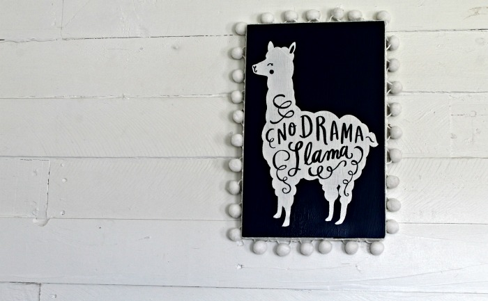 Chalk Couture No Drama Llama Painted Sign by Knick of Time