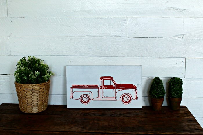 Chalk Couture Red Vintage Truck Wood Sign by Knick of Time | knickoftime.net