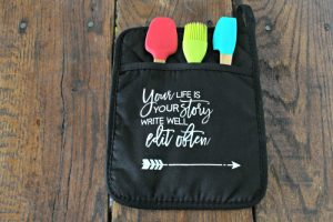 Chalk Couture Your life Story Dollar Tree DIY Decor Black Kitchen Potholder by Knick of Time | knickoftime.net