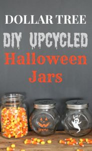 Upcycled Dollar Tree DIY Halloween Glass Jars