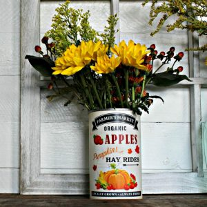 Fall Decor Tin Can Flower Vase
