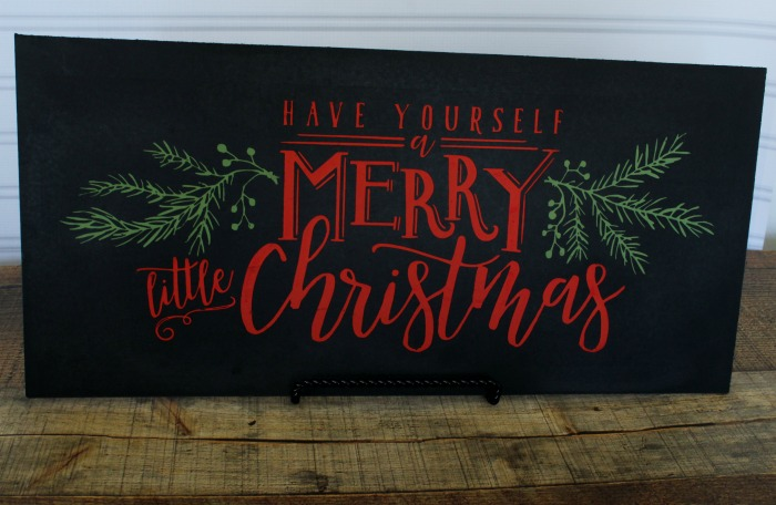 Make this Have Yourself a Merry Little Christmas Chalkboard Sign! Made with Chalk Couture Christmas Cheer transfer by Knick of Time | knickoftime.net