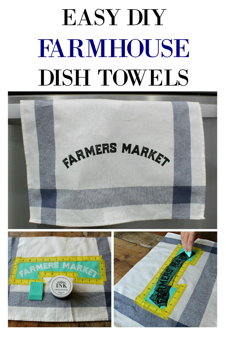 Learn to Make Easy DIY Farmhouse Style Ikea Dish Towels with Chalk Couture Silkscreen Transfers! Easy Tutorial from Knick of Time