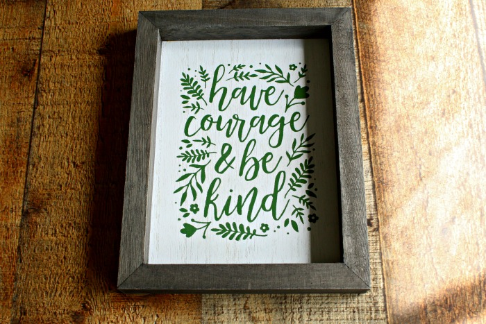 Neutral Colored Inspirational DIY Wood Frame Chalk Couture Have Courage Sign by Knick of Time