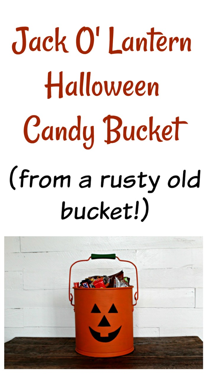Repurposed Metal Jack O' Lantern Halloween Candy Bucket by Knick of Time | knickoftime.net