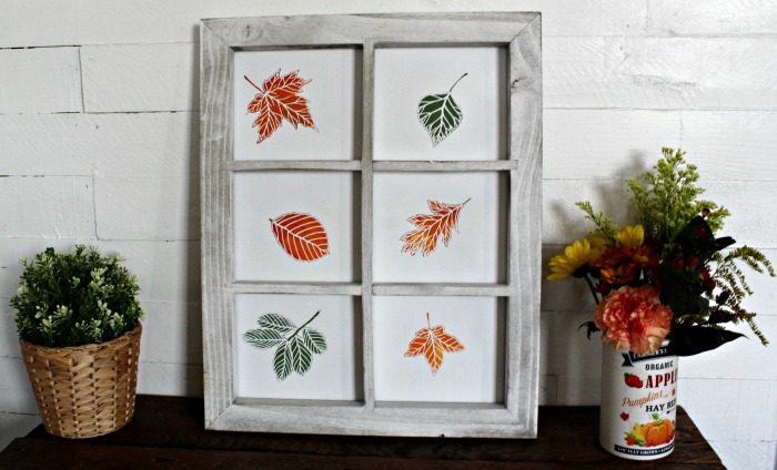 Fall Leaves Farmhouse Window Frame Decor by Knick of Time | knickoftime.net