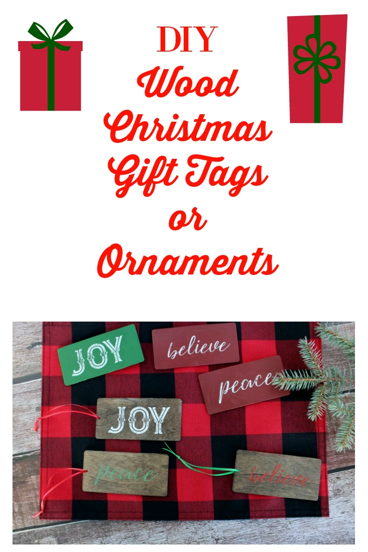 Make these DIY Wood Christmas Gift Tags.  They do double duty as tie-ons for gifts and can also be used as ornaments! #Christmas #diygifts #diy ornaments #decorating #giftwrap #ChristmasSpirit #ChristmasLoading #ChristmasFun #ChristmasCheer #ChristmasBloggerBash #HolidaysAreComing  #ChristmasAroundTheCorner #ChristmasTraditions #ChristmasMood #ChristmasMagic #ChristmasIsComing #ChristmasWish #ChristmasLove #Christmassy #ChristmasVibes  #ChristmasStory #ChristmasParty