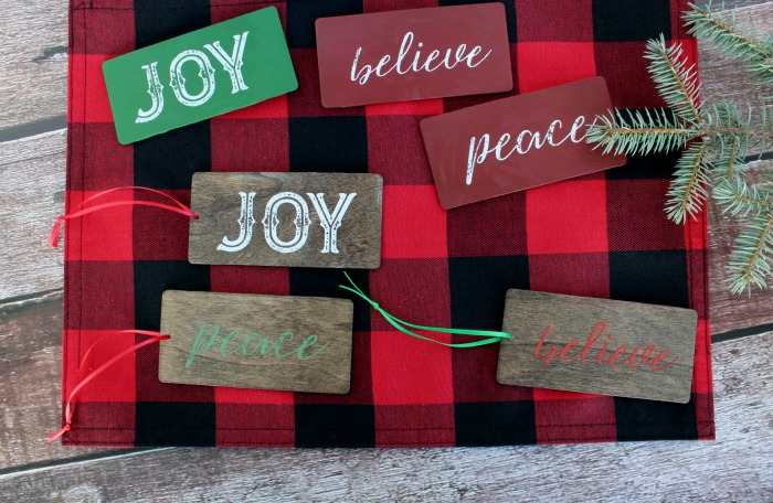 Easy Diy Wood Christmas Gift Tags. They do double duty as tie-ons for gifts and can also be used as ornaments! Learn how at Knick of Time | knickoftime.net