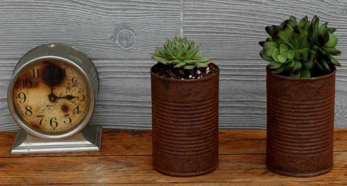 How to create real rust on metal cans using iron patina paint tutorial from Knick of Time| knickoftime.net