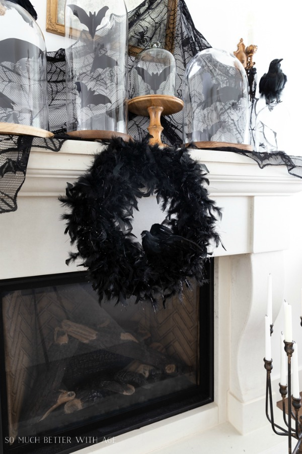 Halloween Feathers and Crow Wreath