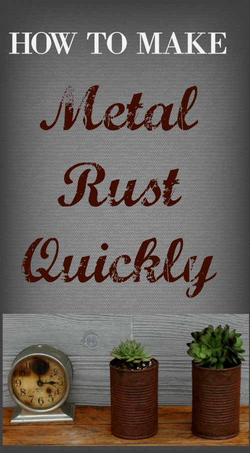 How to Make Metal Rust and Age using Dixie Belle Patina Paint tutorial by Knick of Time! #knickoftime #DIY #DixieBelle #patina #paint #repurposed #succulent #planters #upcycled #rust #vintage tincan #review