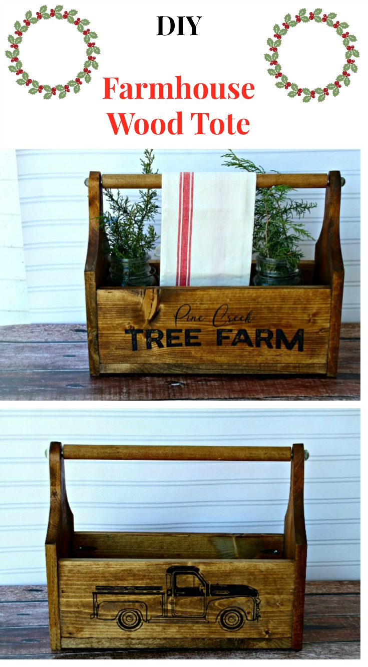 Make your own Farmhouse Style Wood Tote with Custom images on the sides.  It's easy with the tutorial at Knick of Time! | knickoftime.net #farmhouse #DIY #woodworking #woodproject #tote #Christmas #create #make #diyChristmas #homedecor #knickoftime #knickoftimechalkdesigns #ChalkCouture