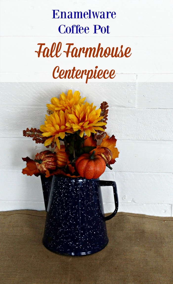 Transform a vintage enamelware coffee pot into pretty fall farmhouse style centerpiece.  Such an easy project for a farmhouse style pop of fall color! #KnickofTime #fall #autumn #DIY  #diydecor #farmhouse style #diyfarmhouse #pumpkin #floral #centerpiece #kitchen #farmhousekitchen #coffeetable #enamelware