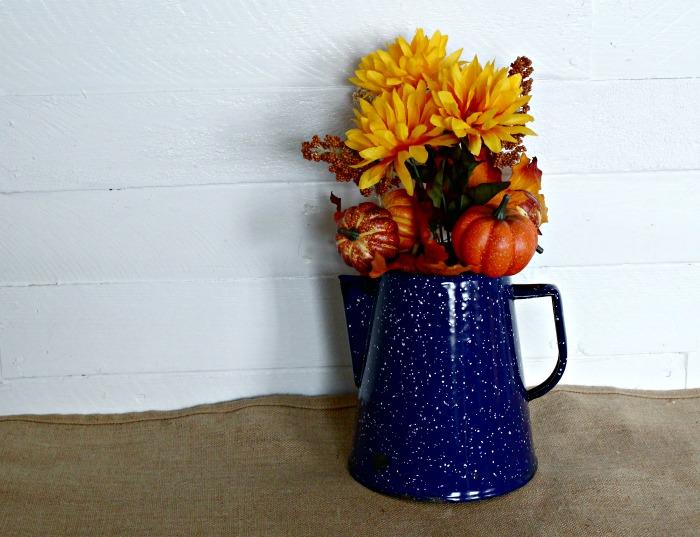 enamelware coffee pot fall leaves pumpkin centerpiece by Knick of Time | knickoftime.net