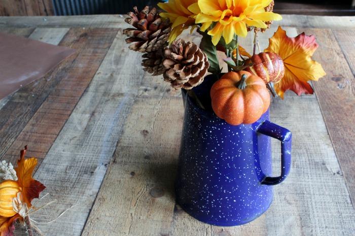 Enamelware Coffee Pot Fall Farmhouse Centerpiece