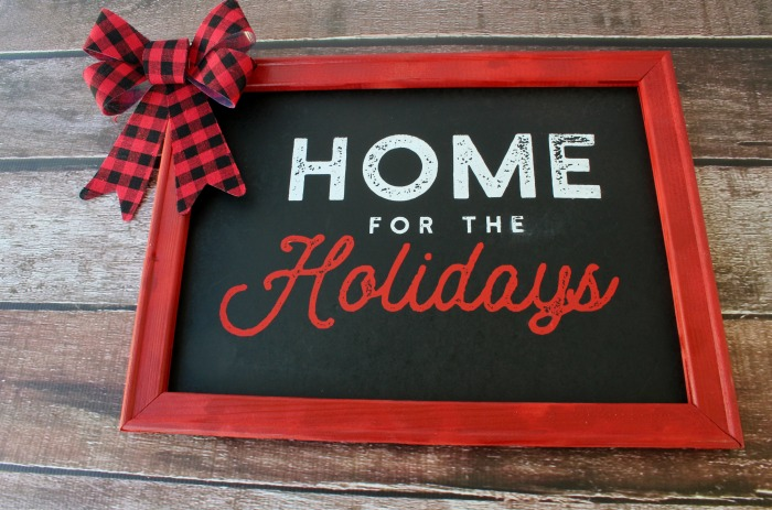 Home for the Holidays Christmas Faux Christmas Chalkboard Sign Made with Chalk Couture by Knick of Time | knickoftime.net