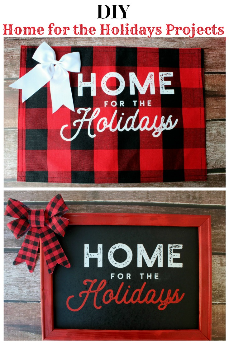 Celebrate family and Christmas by making this super easy DIY Home for the Holidays Chalkboard Christmas Sign!