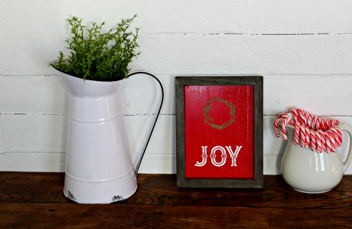Red Box Wood Frame Joy Wreath Christmas Sign by Knick of Time| knickoftime.net