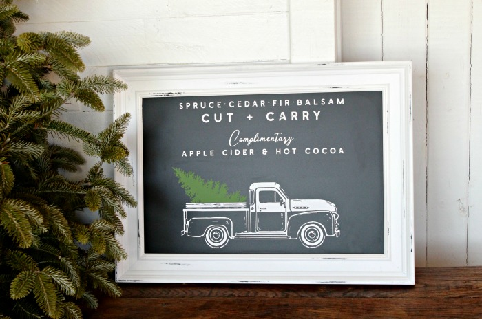 Vintage Truck Christmas Sign made with Chalk Couture winter add-on by Knick of Time | knickoftime