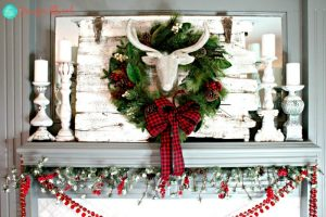 Christmas Mantle Glitter Deer Head by Jennifer Allwood