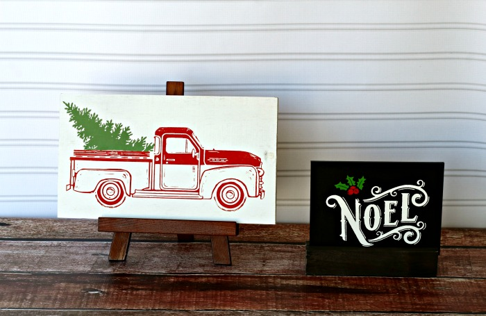 Red Vintage Chrirstmas Tree Farm Truck and Noel Chalkboard Signs by Knick of Time | knickoftime.net