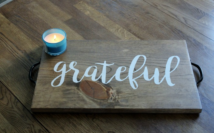 Thanksgiving Grateful Reversible DIY Wood Tray by Knick of Time | knickoftime.net