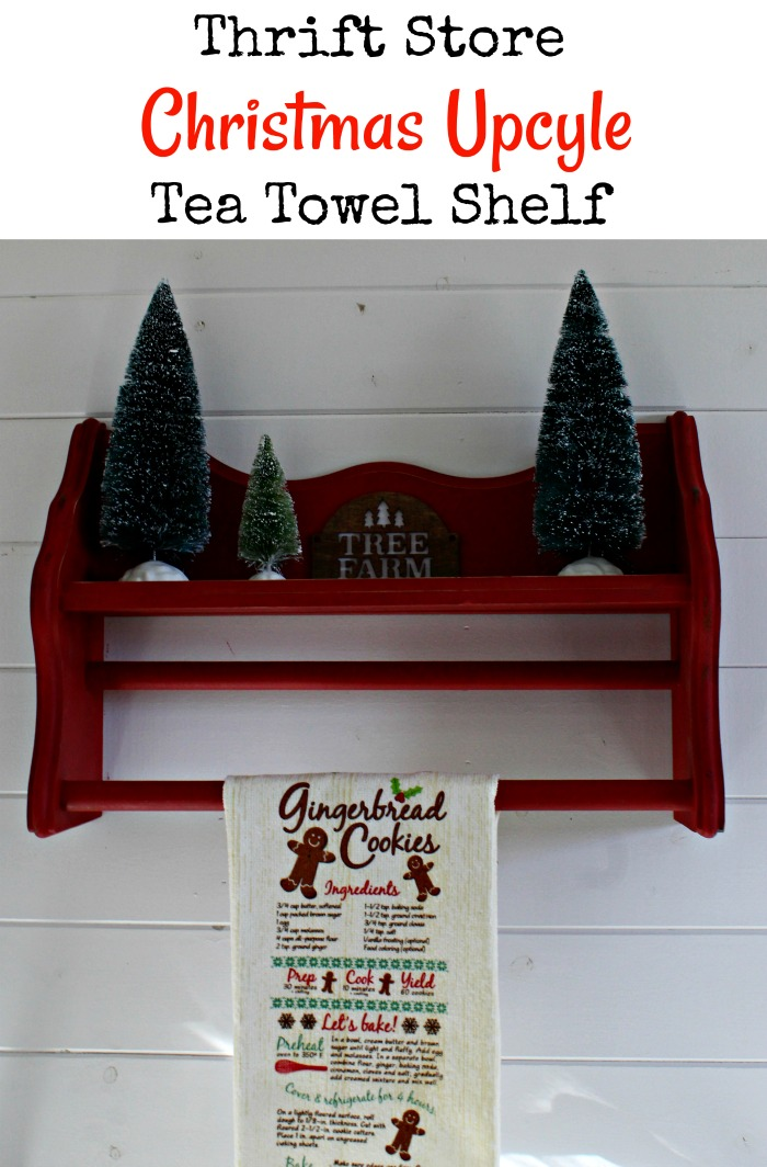 Thrift Store Tea Towel Display Shelf Christmas Upcycle by Knick of Time | knickoftime.net