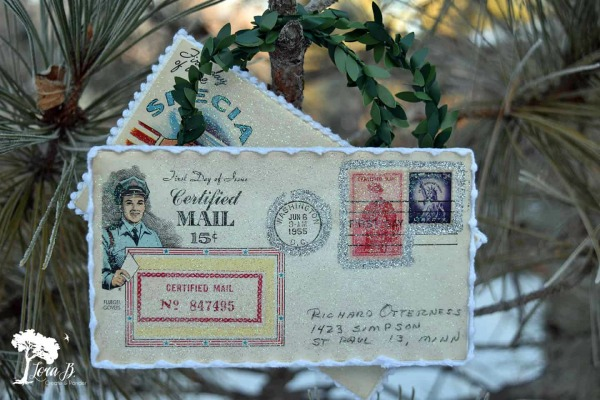 Vintage First Issue Postal Stamp Ornament by Lora B