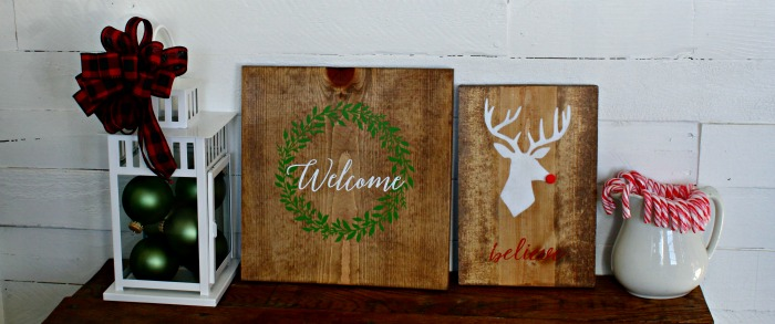 Wood Welcome Wreath and Rudolph Handmade Christmas Signs by Knick of Time | knickoftime.net