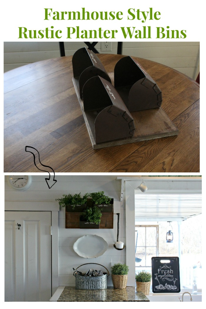 Antique Grain Bins into Farmhouse Style Rustic Planter Wall Bins by Knick of Time | knickoftime.net