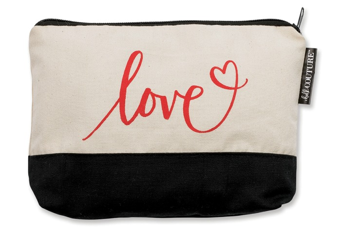 Chalk Couture Love Heart Canvas Zipper Clutch