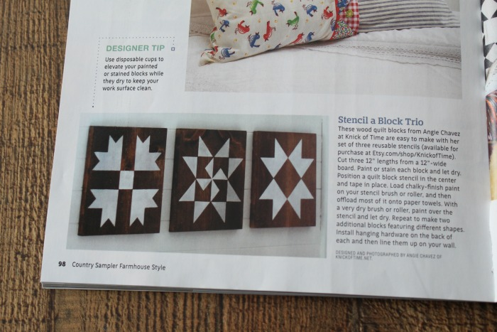 Country Sampler Farmhouse Style Magazine Barn Quilt Blocks Feature | knickoftime.net