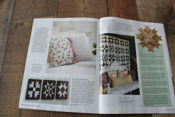 Country Sampler Farmhouse Style Magazine Painted Quilt Blocks Quilt Feature