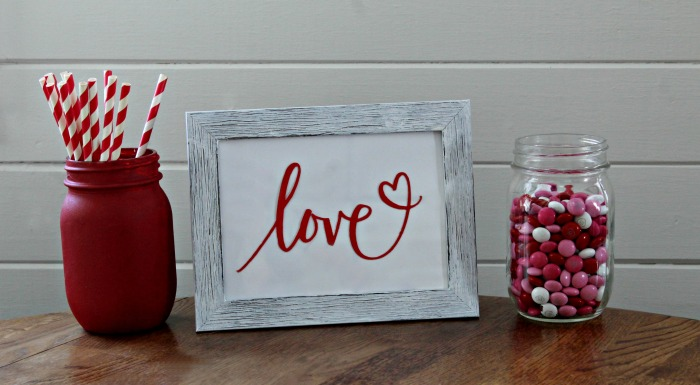 Dollar Tree Faux Wood Upcycled Love Valentines Frame by Knick of Time | knickoftime.net