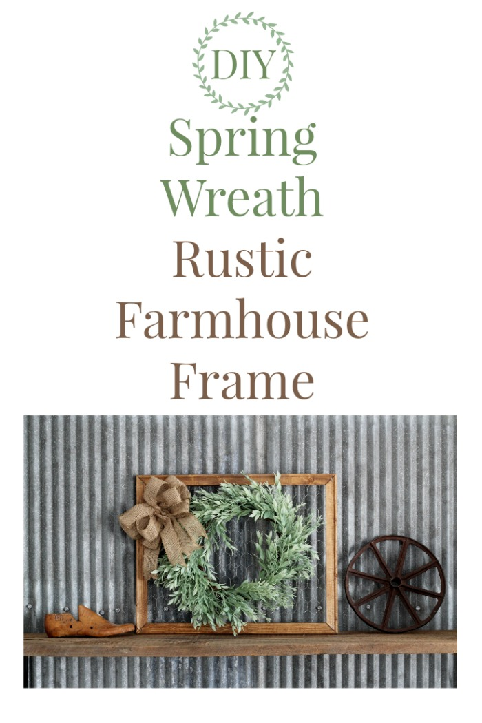 Spring Wreath Chicken Wire Rustic Wood Frame by Knick of Time | knickoftime.net