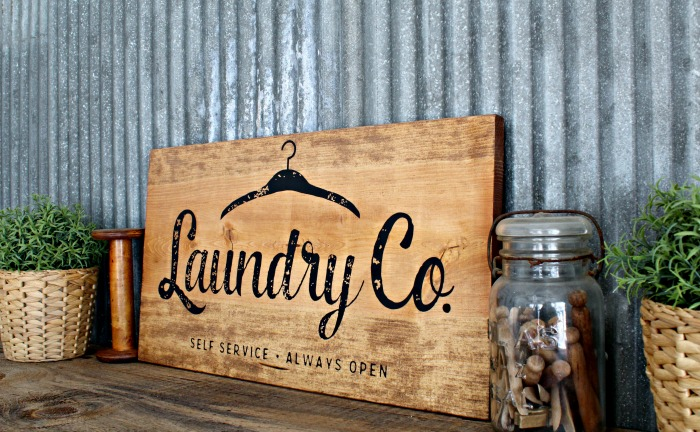 Rustic Wood Farmhouse Laundry Co. DIY Sign made with Chalk Couture by Knick of Time