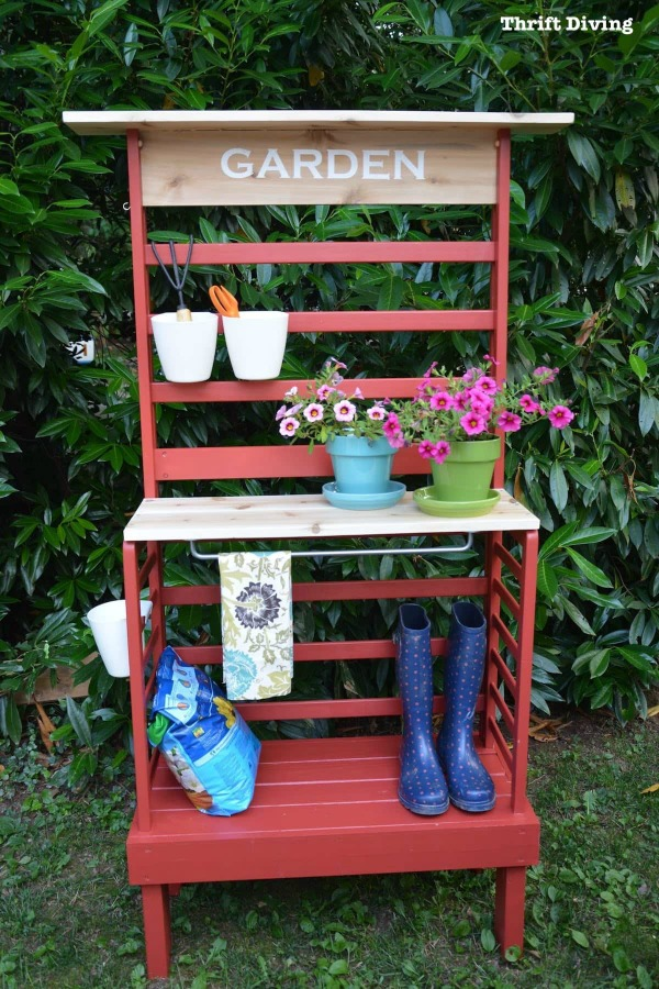 Repurposed Toddler Bed Becomes a DIY Potting Bench